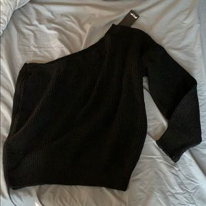 One shoulder black sweater